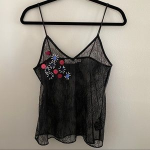 & Other Stories Black Lace Tank Top